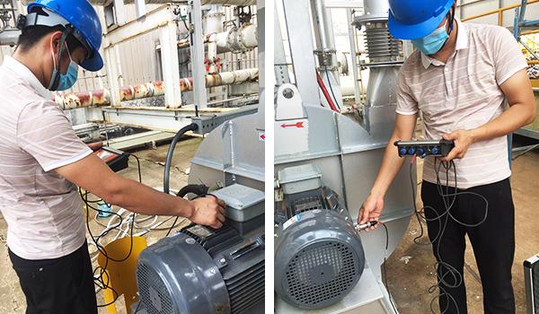 昆山佰斯在南亚塑胶惠州工厂安装调试RTO焚烧炉离心风机